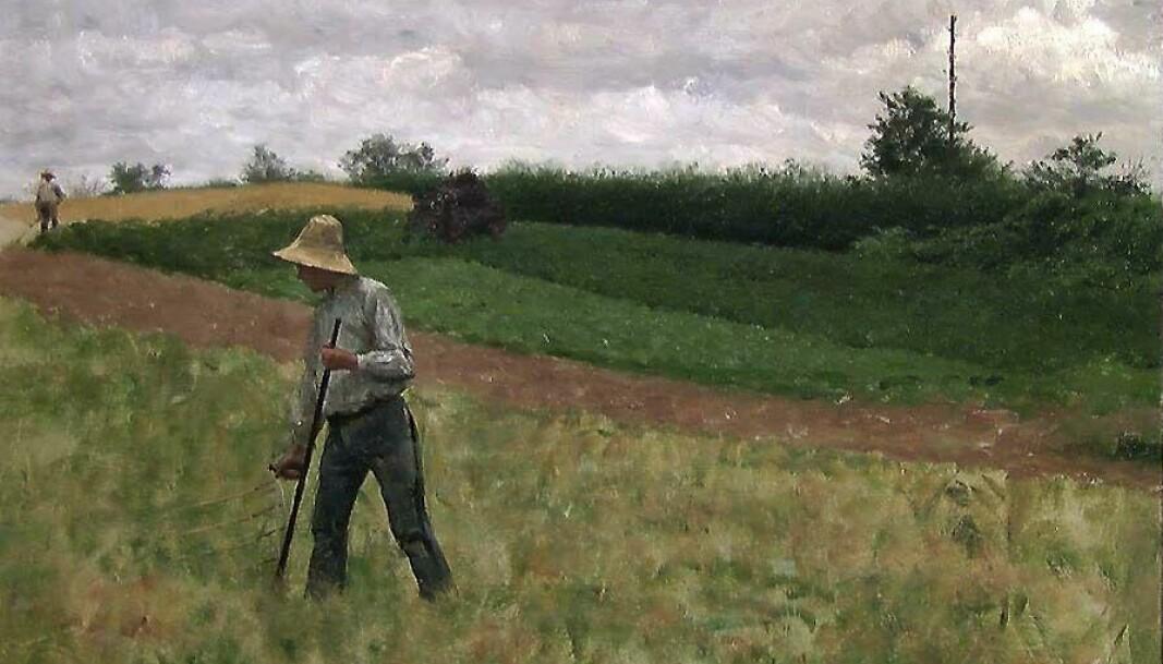 Erik Werenskiold - Landskap med slåttekar (1881)